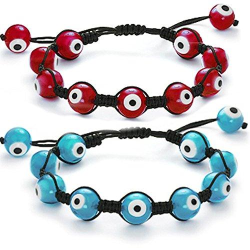 Blue and red evil eye macreme bracelet adjustable black cord SET OF 2