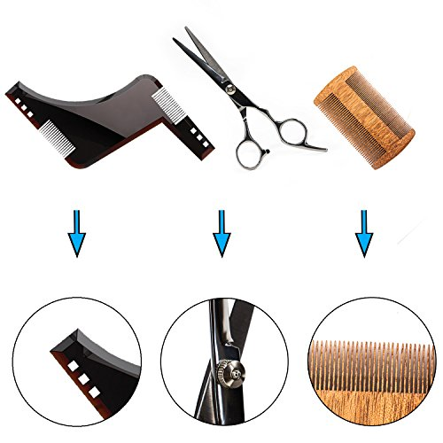 Nugilla Beard Shaping Grooming & Trimming Kit – 3 in 1 – ABS Beard Shaping Tool + Wooden Beard Comb + Stainless Steel Mustache Scissors for Men Facial Hair Care