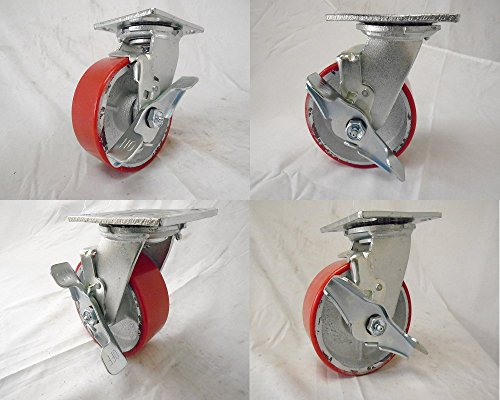 5' X 2' Swivel Casters Heavy Duty Polyurethane Wheel on Steel Hub with Brake 1000lb Ea (4) Tool Box