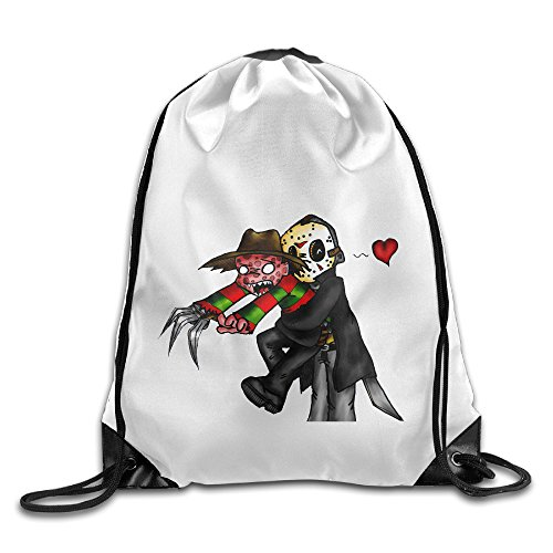 Bekey Jason Voorhees And Freddy Krueger Gym Drawstring Backpack Bags For Men & Women For Home Travel Storage (Swiss Army Travel Blazer)
