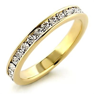 Ah! Jewellery. Women's Channel Set Half Eternity Simulated Diamonds Ring. 24k gold electroplated. Outstanding quality band. TZQwOJK