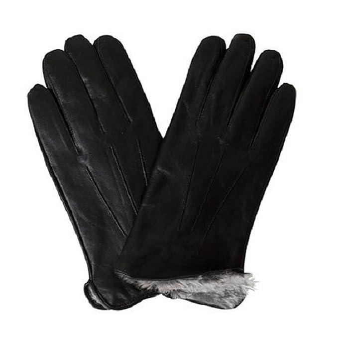 Black Mens Rabbit Fur Lined Genuine Soft Black Leather Gloves /& 180s Adjustable Ear Warmer mens Set