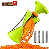 Creator Studio - Vegetable NextGen Spiral Slicer Cutter Spiralizer Bundle, 4-blade Pasta Noodle Spaghetti Maker. Best Spiralizer 150% Bigger for 50% Less Vegetable Wastage. Free Recipe Ebook