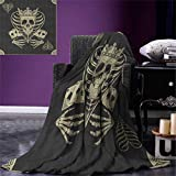 smallbeefly Skull Lightweight Blanket Vector Skull Poker Cards Play Game Scary Horror Image Crown Heart Digital Printing Blanket 60''x36'' Dark Grey Tan Beige