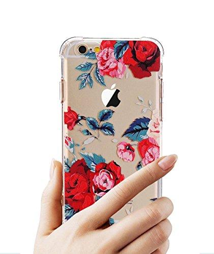 Funda iPhone 6,Funda iPhone 6s, LUOLNH Funda de Silicona TPU para iPhone 6/6S Carcasa Transparente Soft Clear Case Cover Funda Blanda Flexible Carcasa Delgado Ligero Caja Anti Rasguños Anti Choque con Rosa roja