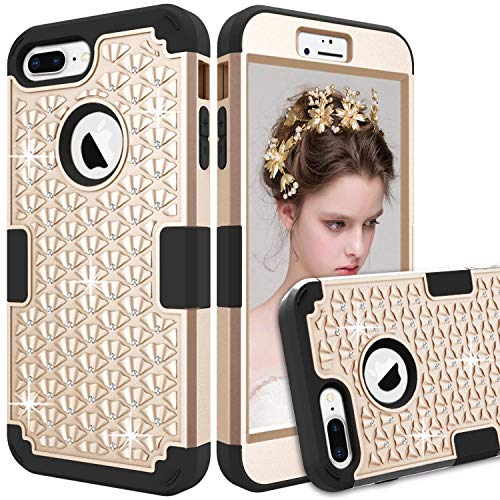 iPhone 8 Plus Case, ZAOX Hybrid Heavy Duty Shockproof Diamond Studded Bling Rhinestone Case with Dual Layer [Hard PC Plus Soft Silicone] Impact Protection (Gold ()