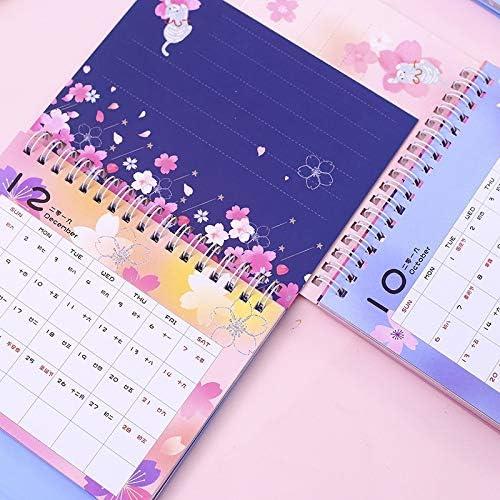 Tischkalender Kalendarien 2020 reizende Katze-und Kirschblüten-Tischkalender DIY Tabelle Coil-Kalender Tagesterminplaner 2019,09~2020,12 (Color : D)