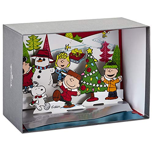 Hallmark Peanuts Paper Craft Christmas Boxed Cards, Pop Up Winter Scene (5 Cards with Envelopes) (Clearance Christmas Sale Ornament)