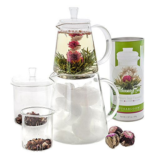 Teabloom Flowering Tea Set - 12 Blooming Tea Flowers - Hot & Cold Brewing Stackable Teapots (Teapot with Canister)
