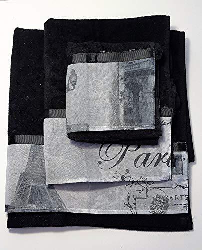 Paris Stamps 3 piece Towel Set Black / White by Popular Bath
