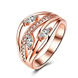 Luxury Circle Round Leaf Teardrop Wedding Band Eternity Ring Simulated Diamond 18K Gold Plated Party Wear