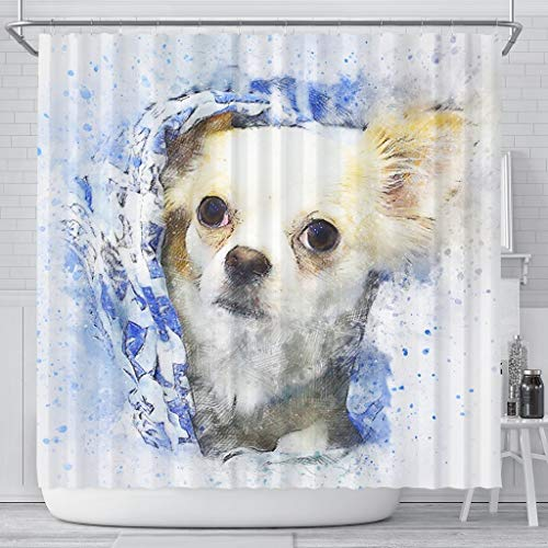 Blue Octopus Boutique Chihuahua Dog Vintage Art Print Shower Curtains