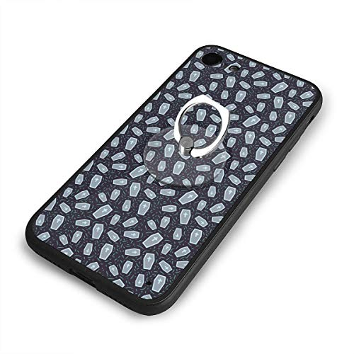 Case for iPhone 6/6s Plus Halloween Pattern with Coffin Mobile Phone Shell Ring Bracket Ultra Light Slim Fit Anti Scratch Fingerprint Premium