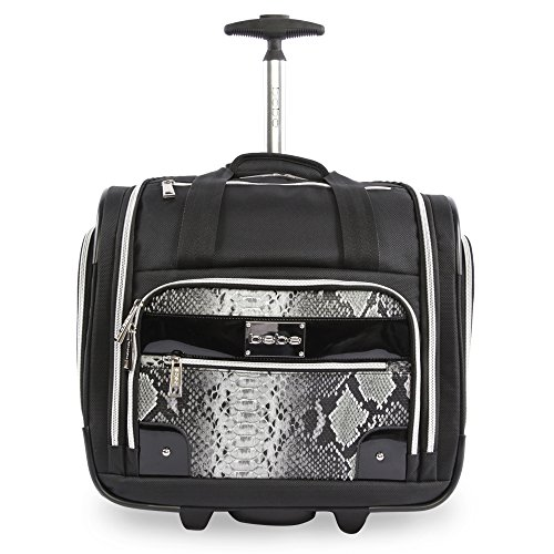 (BEBE Women's Tiana-Wheeled Under The Seat Carry On Bag, Black Snake)