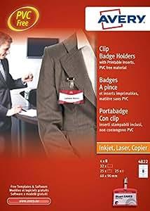 Avery 4822- Kit porta-identificativos con clip