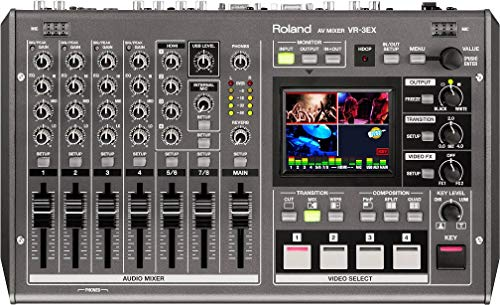Roland VR-3EX All-in-one AV Mixer with Built-in USB Port for Web Streaming and Recording, 2.5
