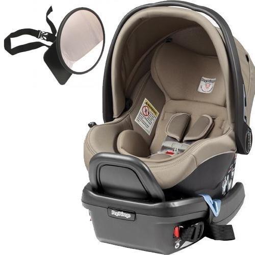 Peg Perego - Primo Viaggio 4-35 Car Seat w Back Seat Mirror - Paloma - Cream Eco-Leather