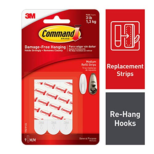 Command Medium Refill Replacement Strips, White, 9-Strips