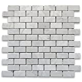 Countertop Backsplash Carrara White Italian Carrera Marble Subway Brick Mosaic Tile 1 x 2 Polished