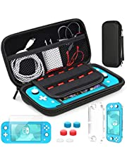 HEYSTOP Compatible with Nintendo Switch Lite Carrying Case, Mini Switch Lite Cover Case + Tempered Glass Screen Protector + Games Card + 6 Thumb Grip Caps Compatible with Nintendo Switch Lite Accessories Kit