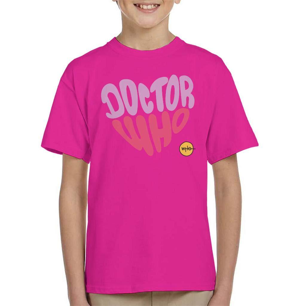 Doctor Who Purple Pink Heart Kids T-Shirt