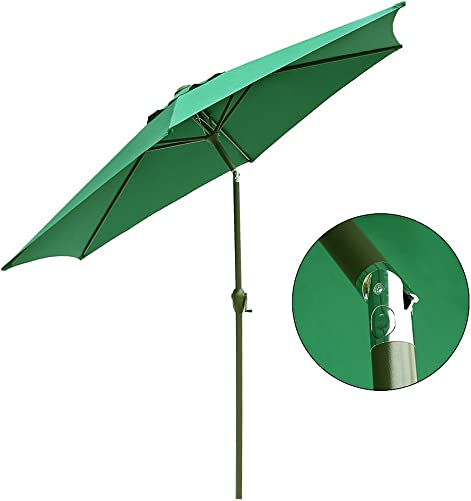Le Papillon 9 ft Outdoor Patio Umbrella Aluminum Table Market Umbrella 6 Ribs Crank Lift Push Button Tilt,Green