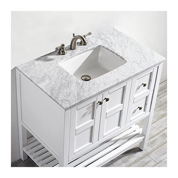 "Vinnova 713036-WH-CA-NM Florence 36"" Vanity in White with Carrera Marble Countertop Without Mirror, Inch - Solid Oak Wood with Laminated Veneer Panels Lends eclectic flair to any bathroom decor Ample space for toiletries - bathroom-vanities, bathroom-fixtures-hardware, bathroom - 51k7Kch0eTL. SS570  -"