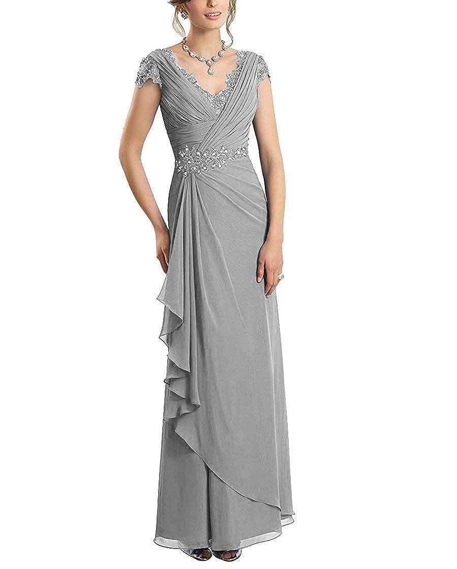 Womens V-Neck Sleeveless Mother of The Bride Dress Lace Sheath Bodice Formal Evening Dress