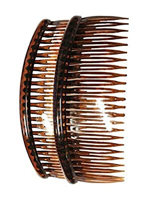 """Pair of Large Tort Plain Hair Combs Slides 12cm (4.7"""") by Pritties Accessories"""
