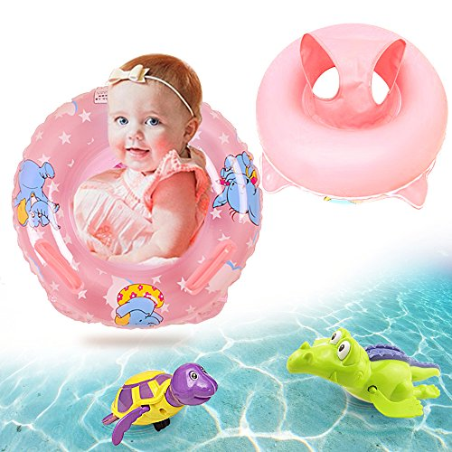 Sealive Inflatable Baby Pool Float Safety Seat Boat Swimming Toy with Handle, Plus Bathtub Toys Turtle and Crocodile Wind up Water Bath Toys