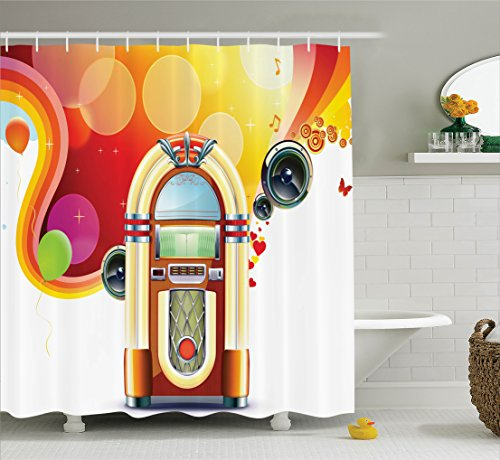 Price comparison product image Ambesonne 1950s Decor Collection, Party Background with Detailed Classic Jukebox Celebration Colored Cheerful Fun Event Image, Polyester Fabric Bathroom Shower Curtain Set, 75 Inches Long, Red Yellow