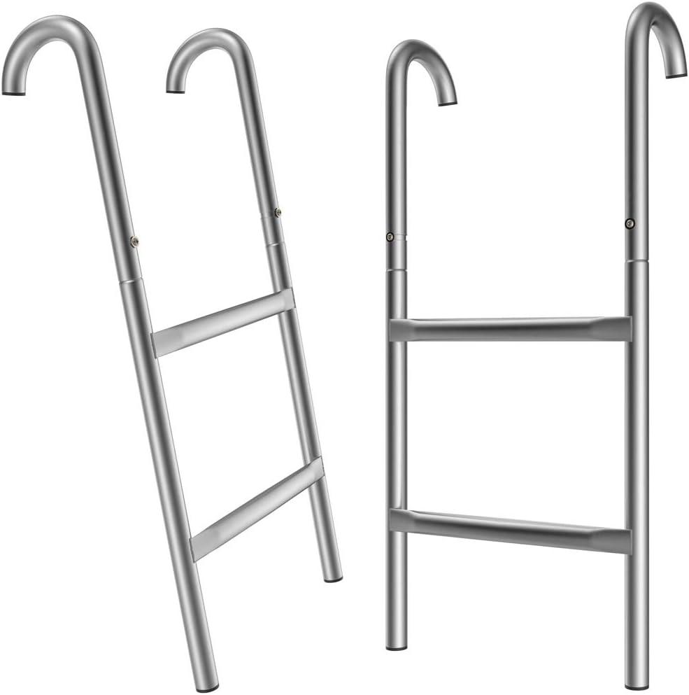 Deuba Monzana Escalera de trampolín Cama elástica de 66/76/90/110 cm 2-3 peldaños Entrada Resistente a los Rayos UV Montaje Flexible