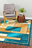 657 Turquoise abstracts 7'10×10'6 Area Rug Carpet Large New