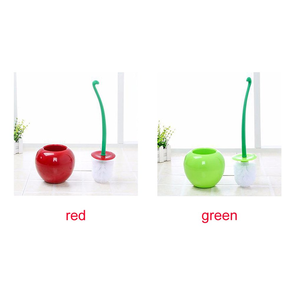 Escobilla de ba/ño y Soporte para Inodoro Cleme 38 cm Rojo Color Verde 38 cm