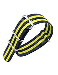 22mm Dark Blue/Yellow Deluxe Premium NATO style Sturdy Exotic Nylon Sport Men's Wrist Watch Band Strap