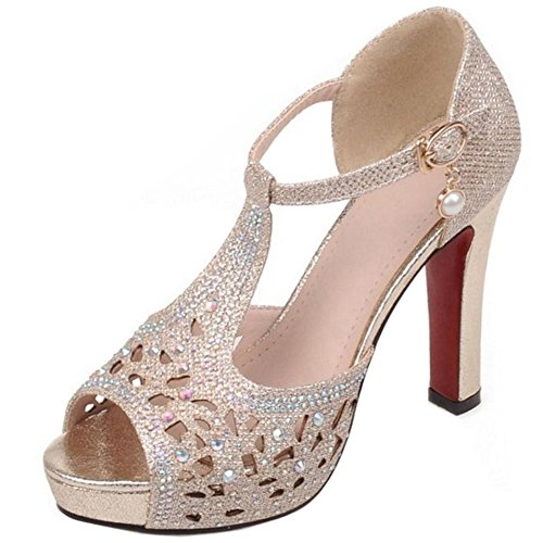 TAOFFEN Women Shiny Party Summer Shoes Gold