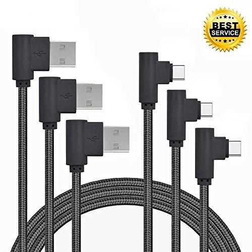 USB Type C Cable, ANLOER 90 Degree 3Pack 3Ft 6Ft 10Ft Angled Nylon Braided Long Cord Data Sync Cord for Samsung Galaxy Note 8, S8 Plus, LG V30 V20 G6, Google Pixel 2, Nexus 5X/6P, Moto Z2 (Black)