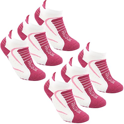(Facool Womens Ladies 6 Pairs Performance No Blister Soft Cushioned Coolmax Sports Running Walking Camping Ankle Socks Keep Feet Cool&Dry,One Size,6 Pairs Rose Red&white )
