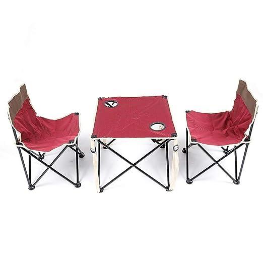 LJFYMX Mesa y sillas de Camping Mesa Plegable portátil con 2 ...