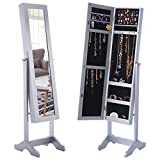 Giantex Mirrored Jewelry Cabinet Armoire with Stand Mirrored Organizer Storage Box Ring