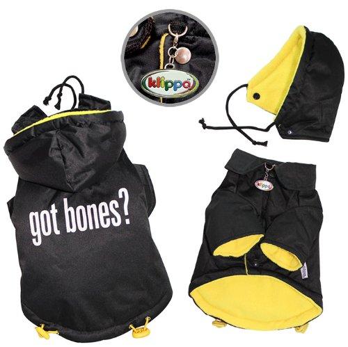 ''Got Bones'' Thick & Warm Dog Coat with Detachable Hood - S