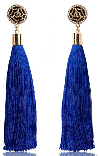 Fashion Jewelry Thread Tassel Dangle Earrings Silk Fringe Thread Drop Earrings for Parties (Blue) (Coco Channel Makeup)
