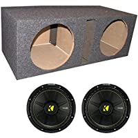 2) New Kicker 44CWCS124 12 1200W Car Subwoofers + Dual Vented Sub Box Enclosure