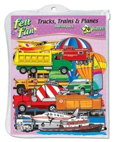 Little Folk Visuals Train, Trucks & Planes Precut Flannel/Felt Board Figures, 24 Pieces Add-On Set   -