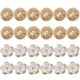 Faylapa 24 Pcs Hessian Flowers, Handmade DIY Burlap Rose with Lace and Pearl for Craft Making Wedding Decorations,Two Style