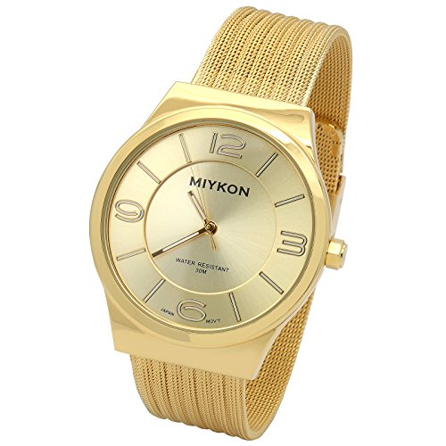 Ultra Slim Gold Finish Metal Mesh Bracelet Band - Miykon Waterproof Watch