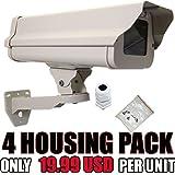 VENTECH 4 PACK Outdoor Weatherproof Heavy Duty Aluminum CCTV housing Security Surveillance Camera Housing camera Mount Enclosure with Bracket