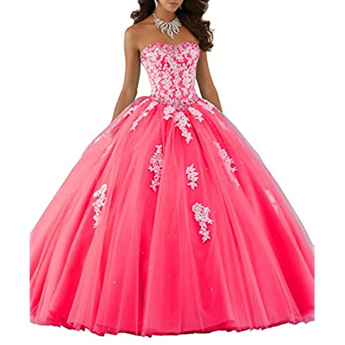 Eldecey Elley Womens Lace Applique Sweet Sixteen Girl Birthday Party Backless Long Tulle Quinceanera Dress Dark Pink US2