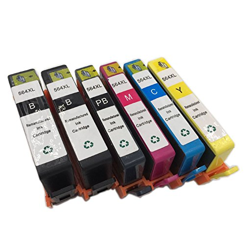INKMATE 6 Pack ( BK / PB / M / C / Y ) Show Ink Level Remanufactured Ink Cartridge for 564 XL 564XL Photosmart 7510 7520 B8550 C6340 C6350 C6380 D5445 D7560 D5460 by INKMATE