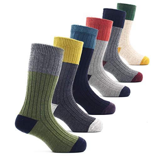 Toddler Boys Wool Socks Winter Warm Crew Seamless Socks 6 Pack 1-3 Years